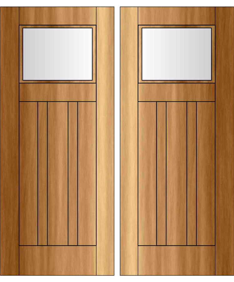 PR-EDG1504 u2013 Craftsman/Bugalow Double Door Four Panel Top Rail Flat Arch With Glass : bungalow doors - pezcame.com
